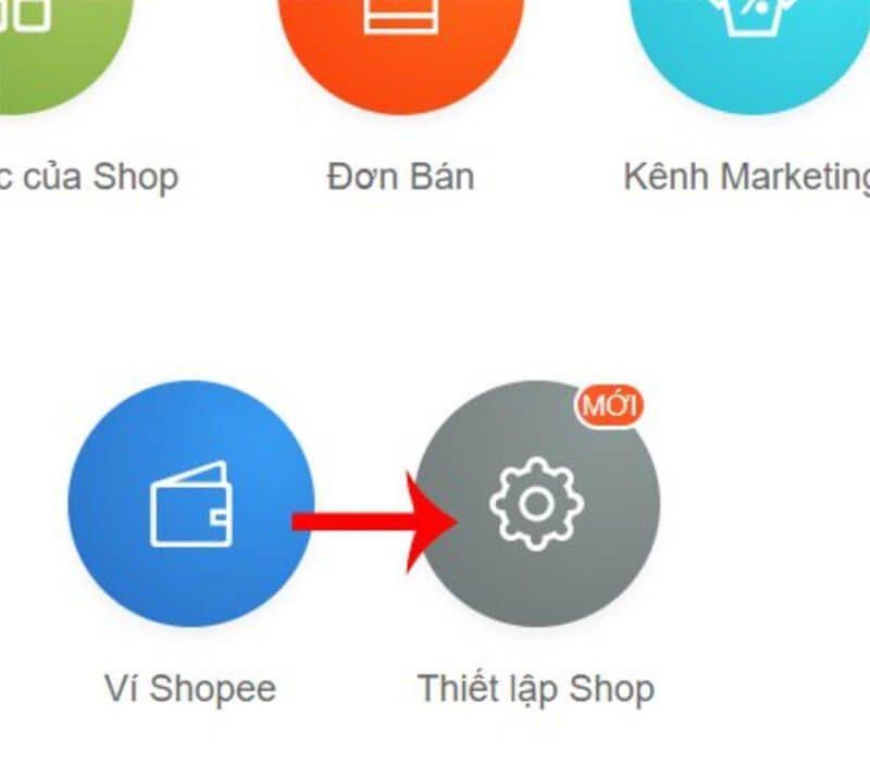 Tại đây click vào mụcThiết lập Shopở phần cuối giao diện.